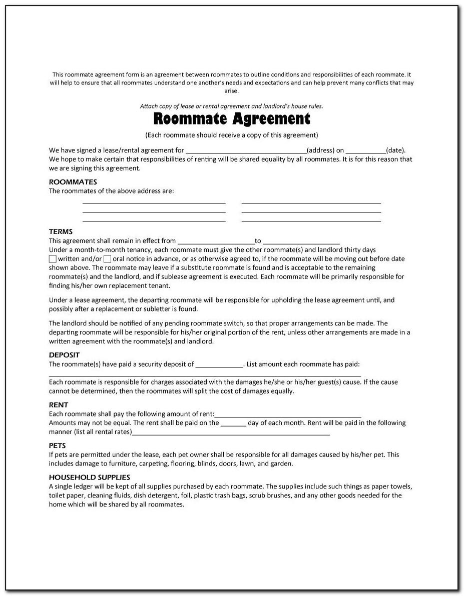 Roommate Contract Template Canada