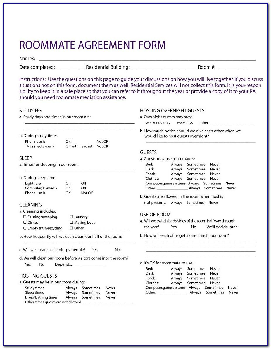 Roommate Contract Template Uk