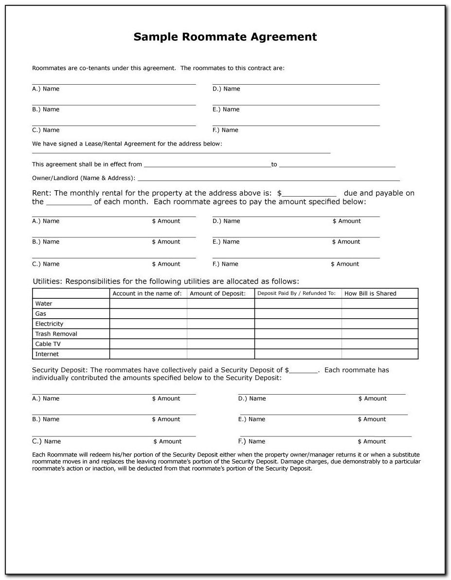 Roommate Contract Template Word