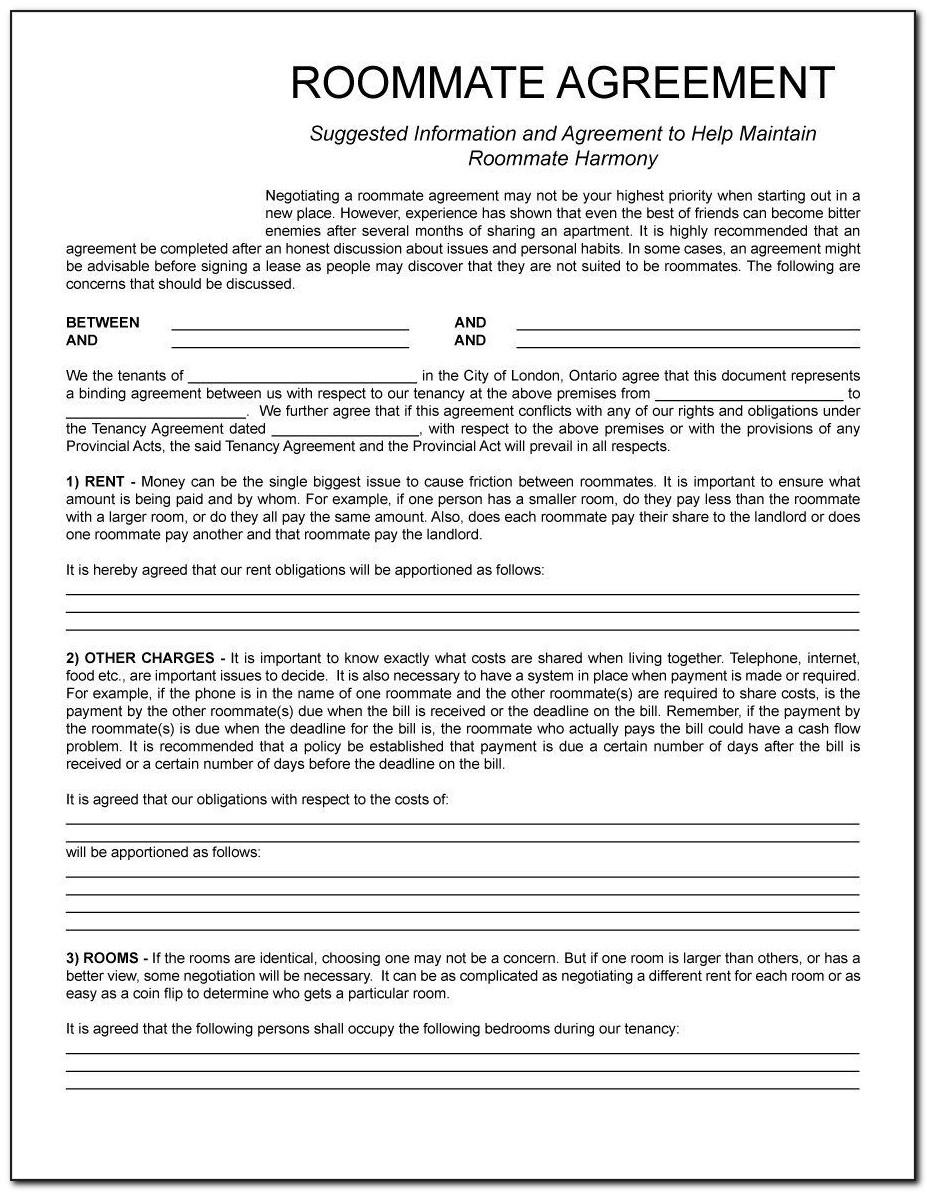 Roommate Contracts Template