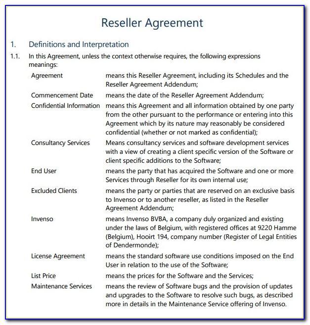 Saas Reseller Agreement Template Free