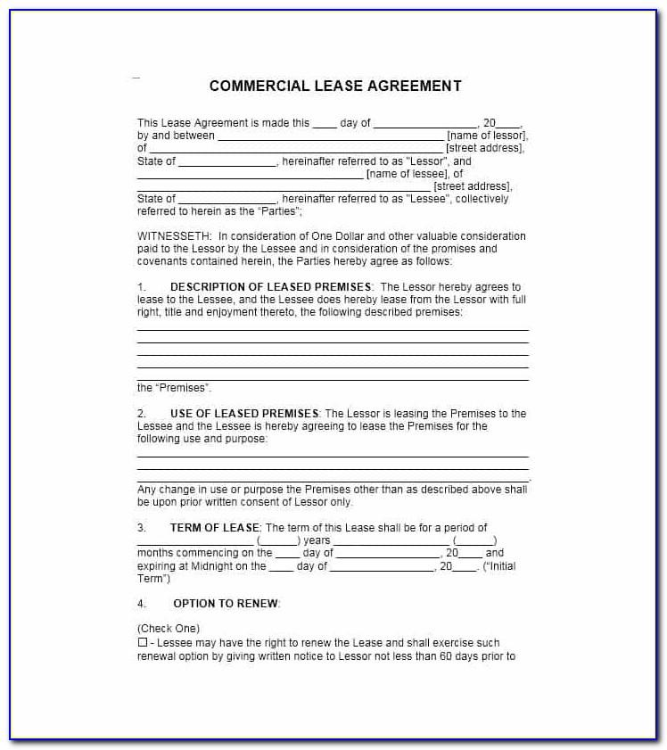Sample Commercial Lease Agreement California