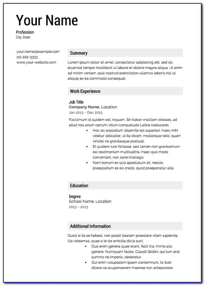 Sample Resume Templates Free