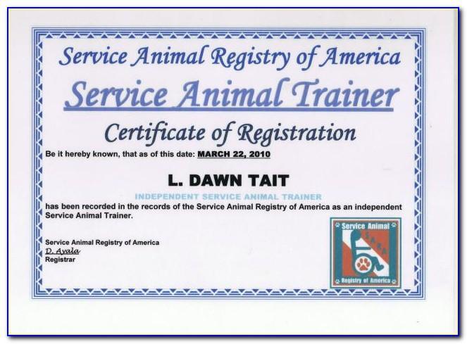 Service Dog Certificate Template Free