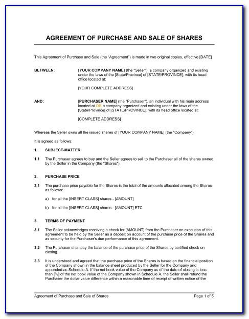 Share Purchase Agreement Ontario Template