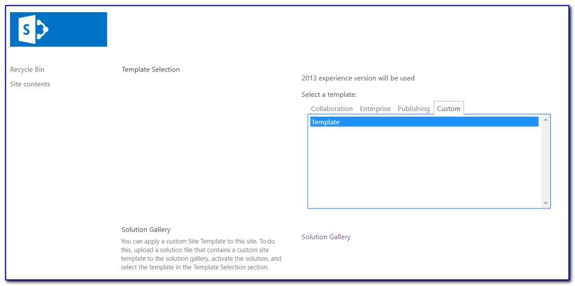 Sharepoint Template Gallery Path