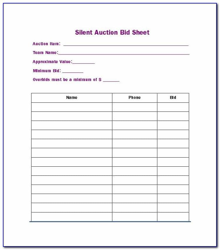 Silent Auction Bid Sheet Template Free