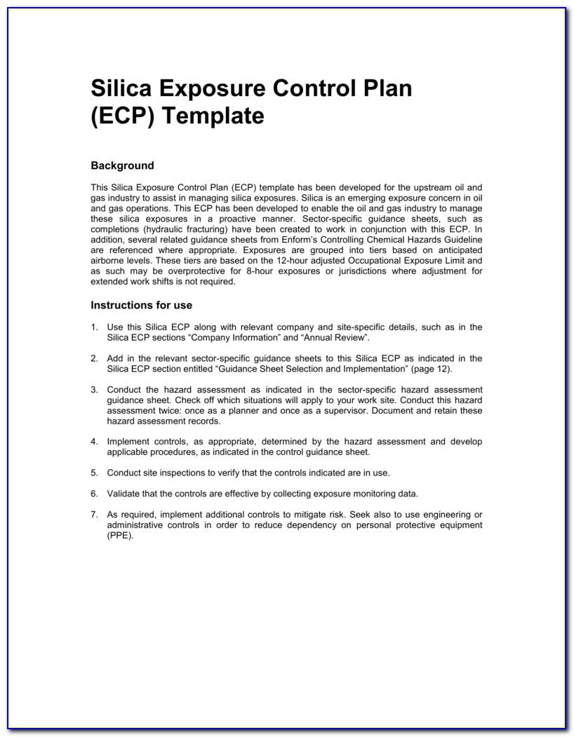 Silica Dust Control Plan Template