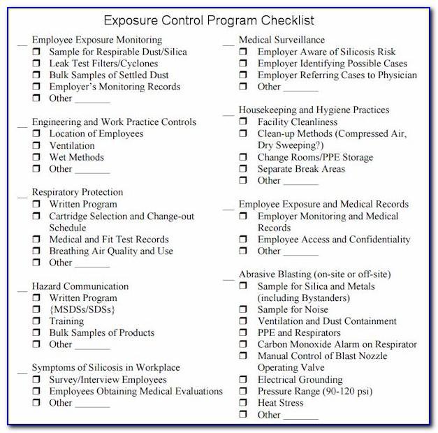 Silica Exposure Control Plan Form