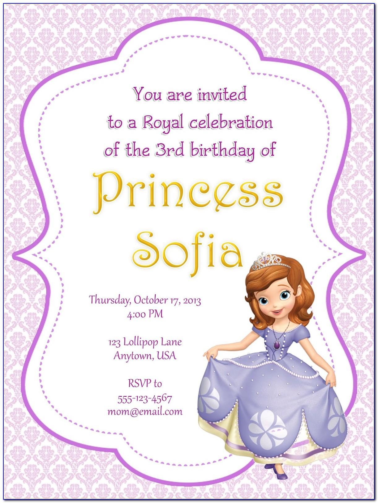 Sofia The First Birthday Invitation Layout