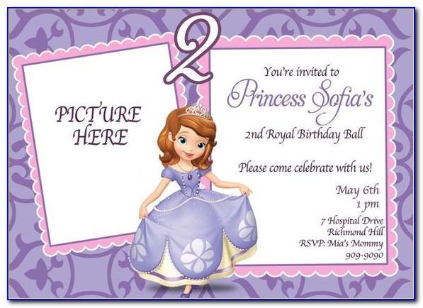 Sofia The First Birthday Invitation Template