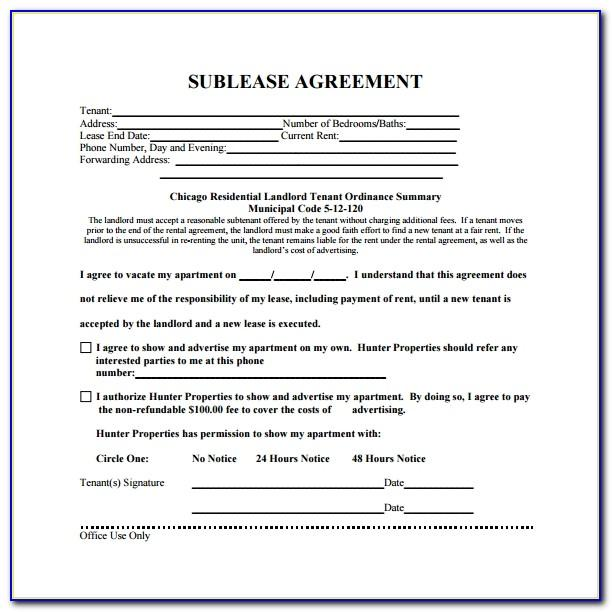 Subtenant Contract Template Uk