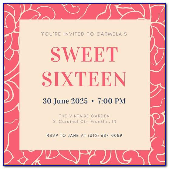 Sweet 16 Birthday Invitations Free Templates