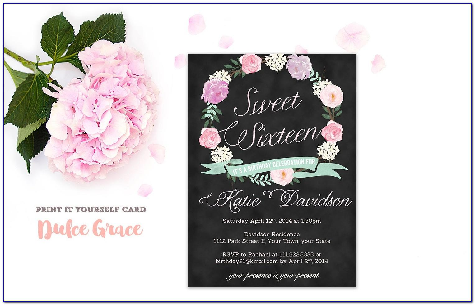 Sweet Sixteen Invitations Templates Free