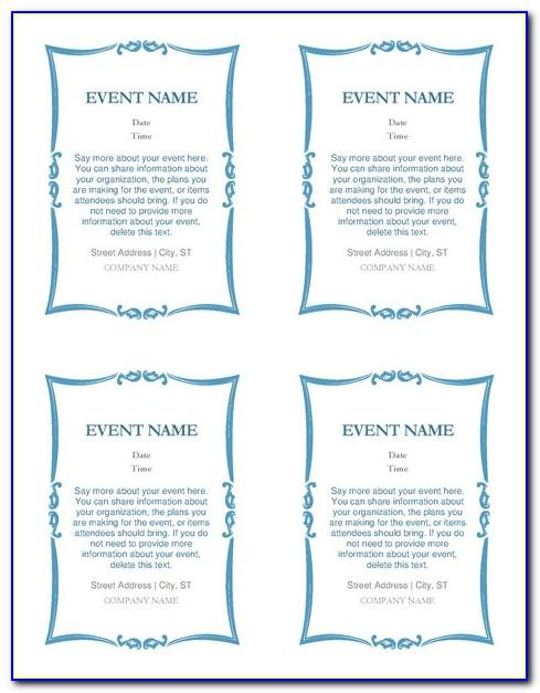 Template For 4.25 X 5.5 Card Microsoft Word