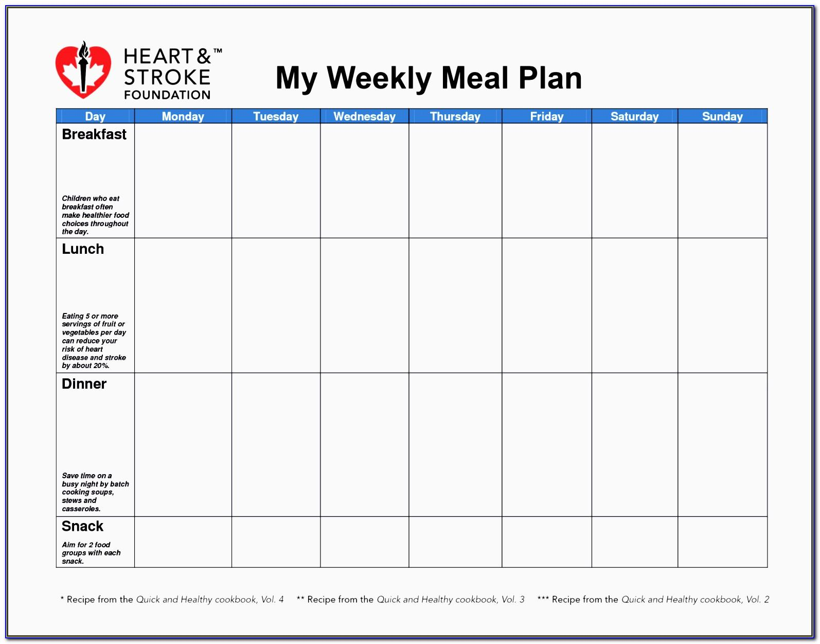 Template For Meal Planning Diabetes