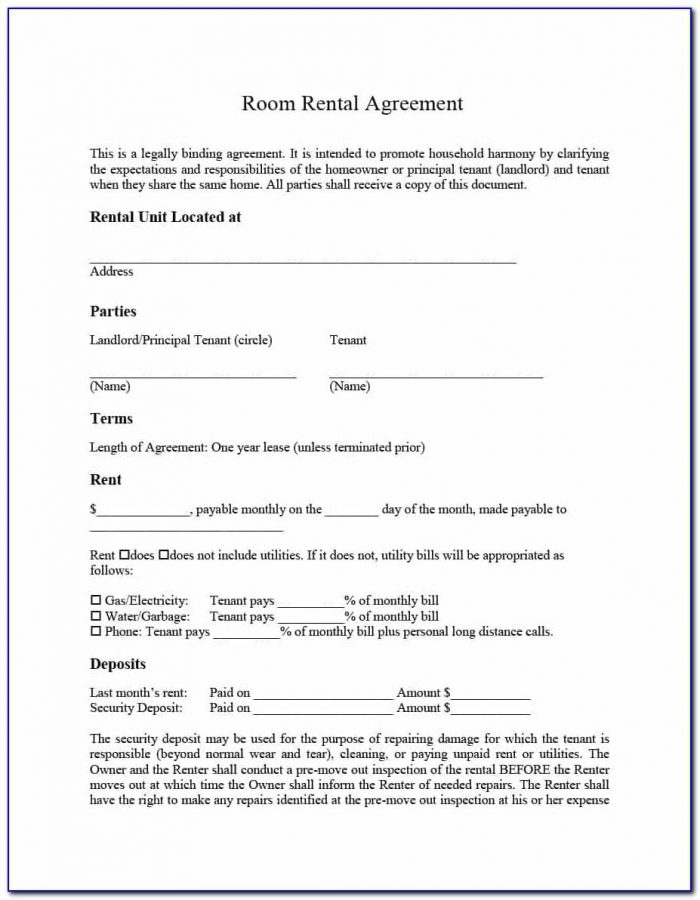 Template For Room Rental Agreement