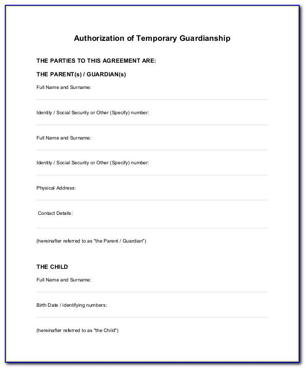 Temporary Custody Template Free