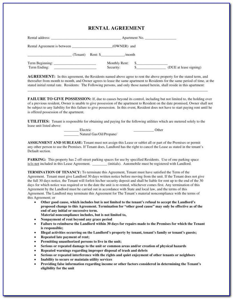 Tenant Landlord Rental Agreement Forms