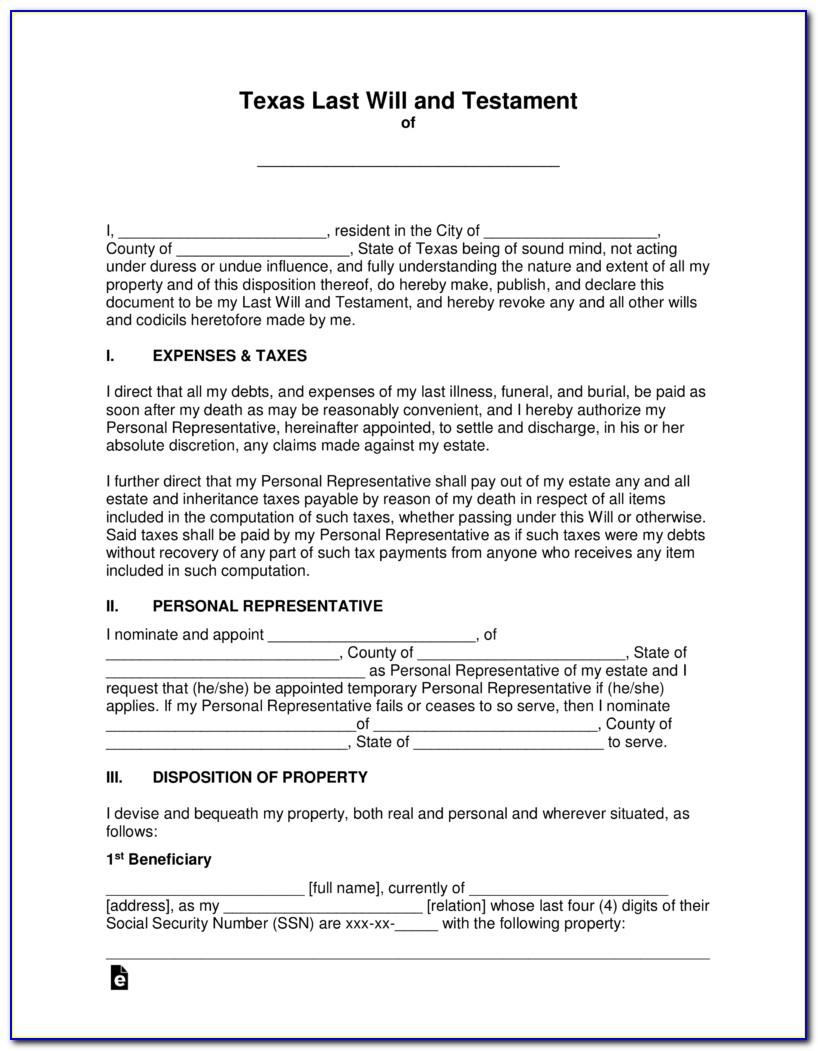 Texas Last Will And Testament Template