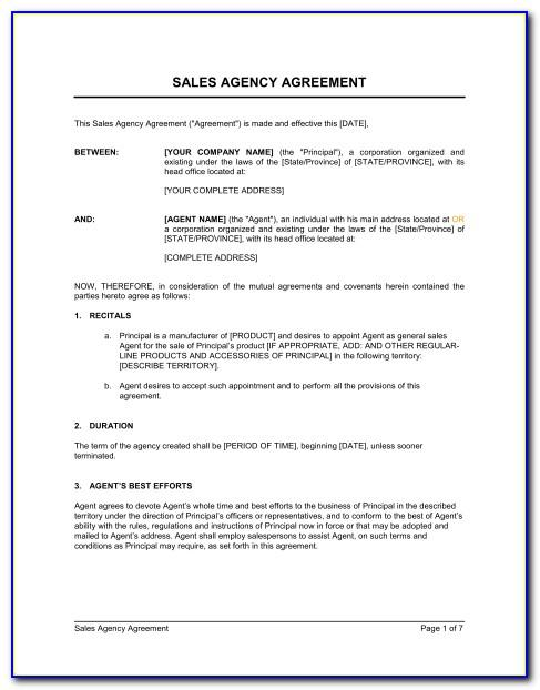Uk Sales Agency Agreement Template Free