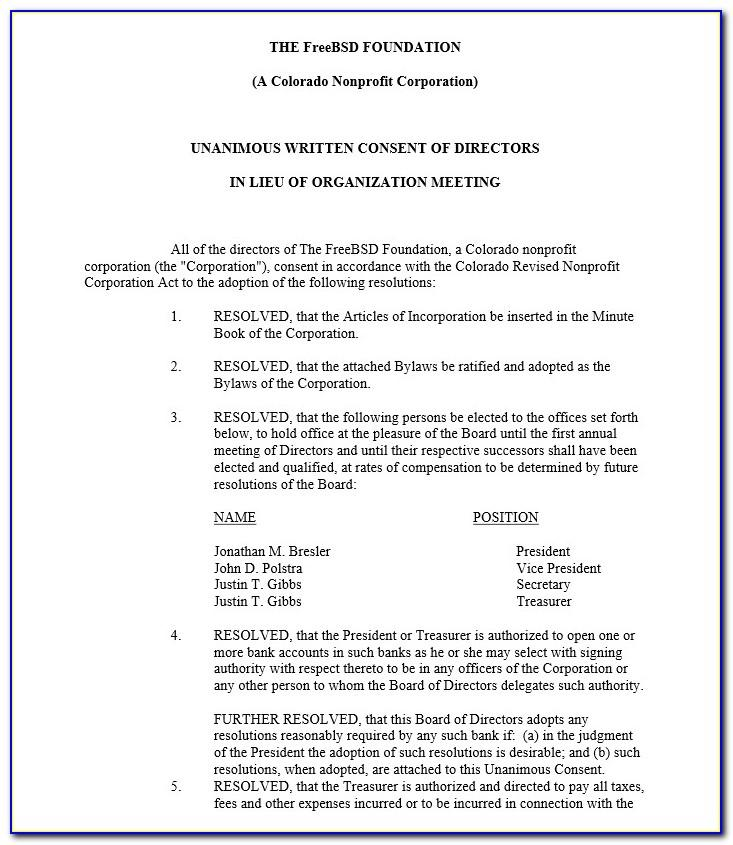 Unanimous Written Consent Of The Board Of Directors Template
