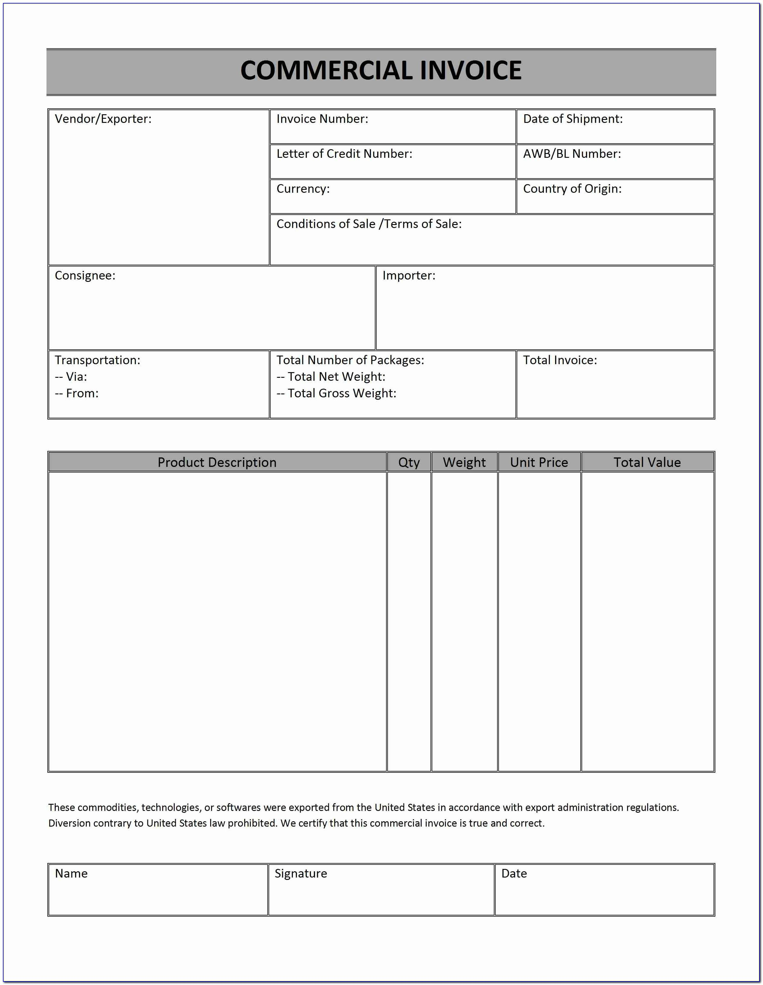Us Customs Proforma Invoice Form