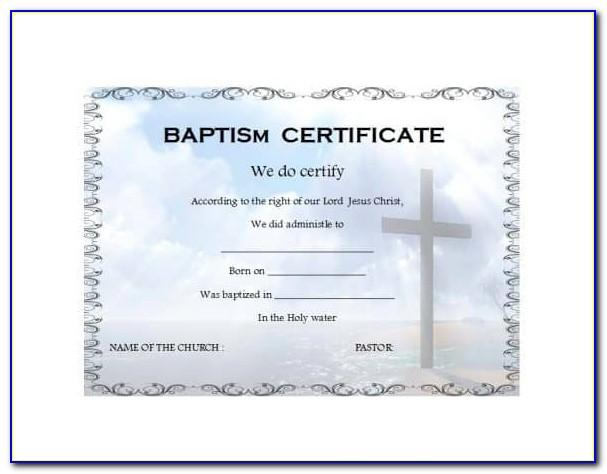 Water Baptism Certificate Templates