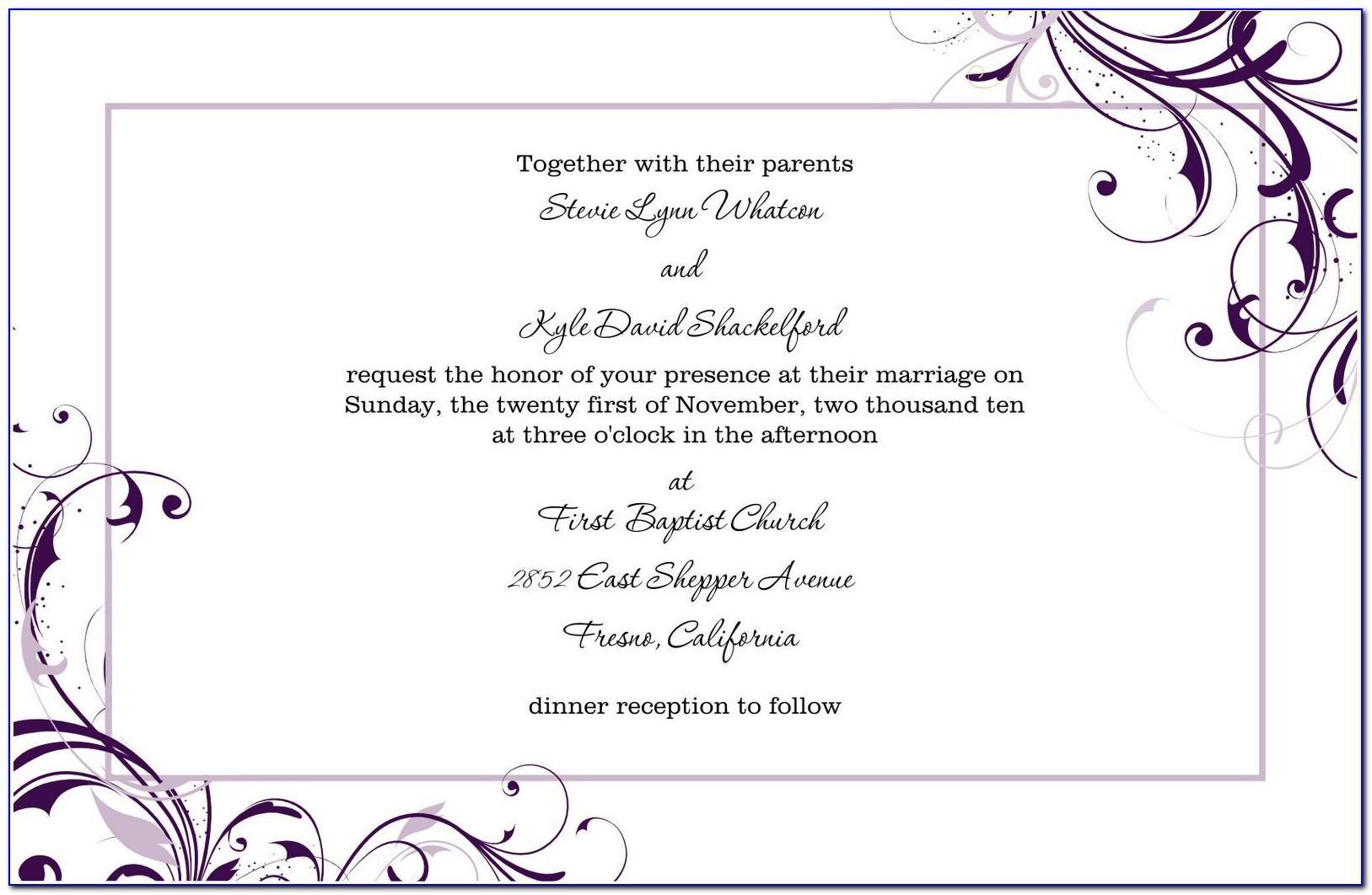 Wedding Invitation Templates Word Document Free