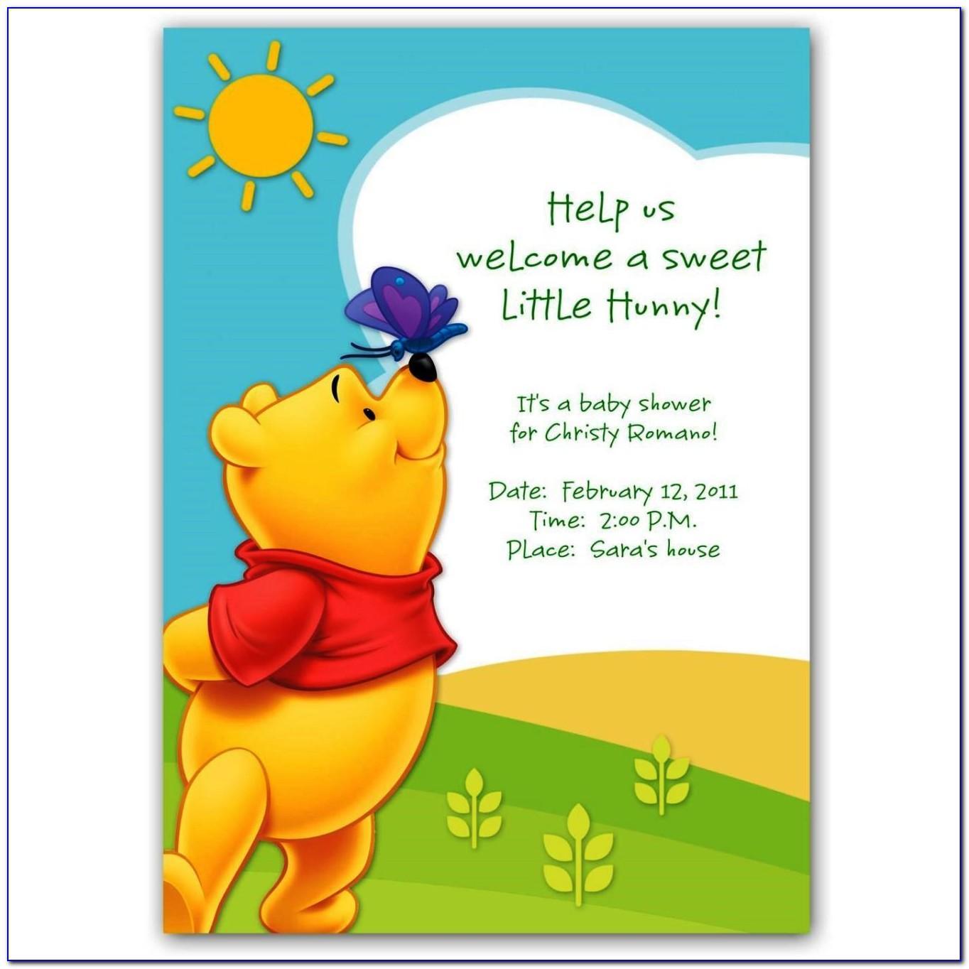Winnie The Pooh Baby Shower Invitations Free Printable