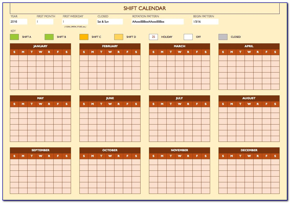 Yearly Work Schedule Calendar Template