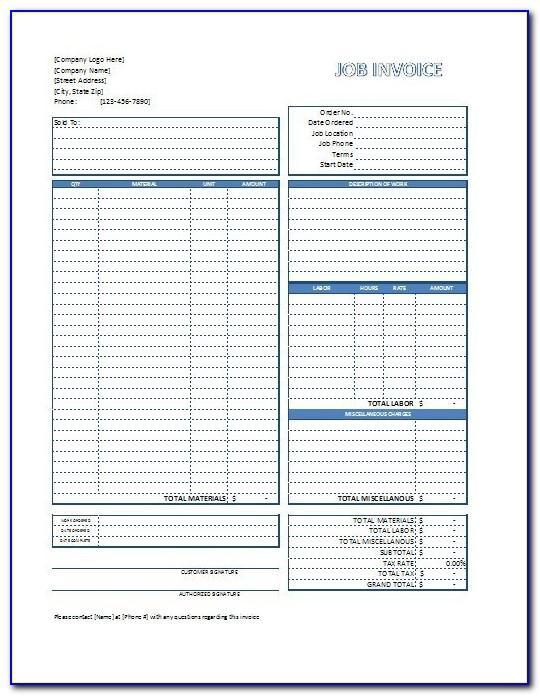 1099 Employee Invoice Template