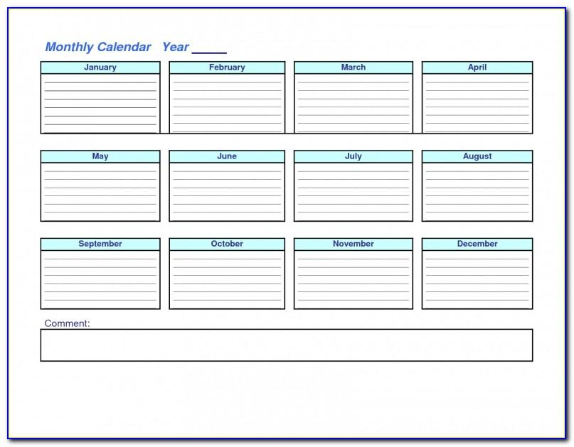 3 Month At A Glance Calendar Template