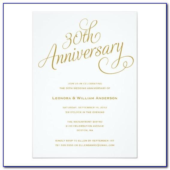 30th Anniversary Invitations Templates