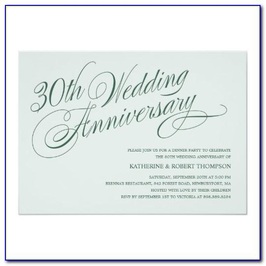 30th Wedding Anniversary Invitations Templates