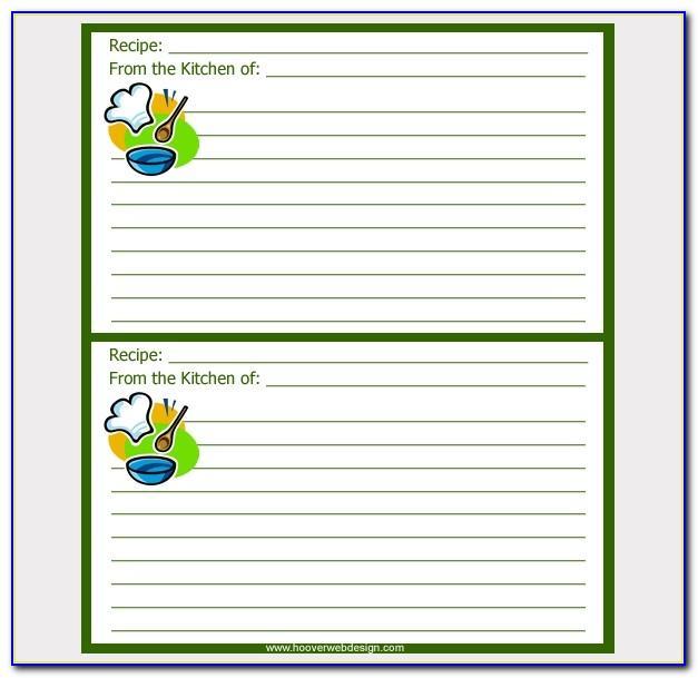 3x5 Index Card Recipe Template