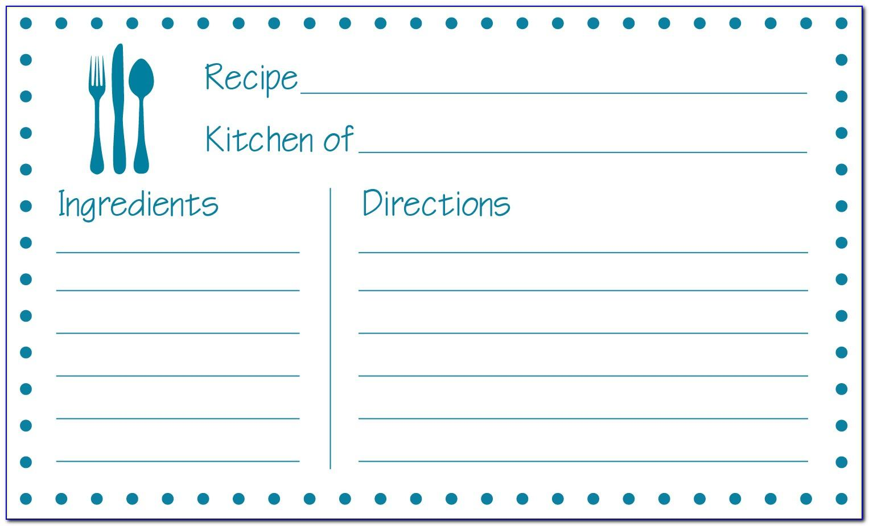 3x5 Recipe Card Template Free