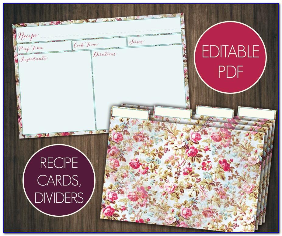 4x6 Recipe Card Divider Template