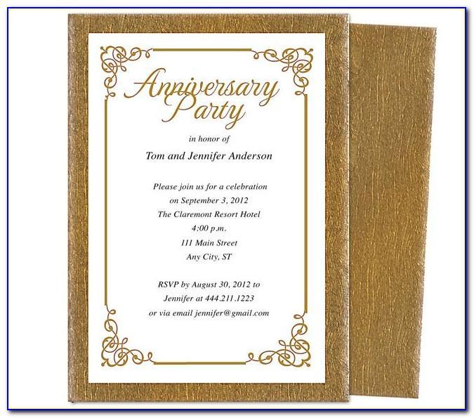 50th Anniversary Invitation Card Templates