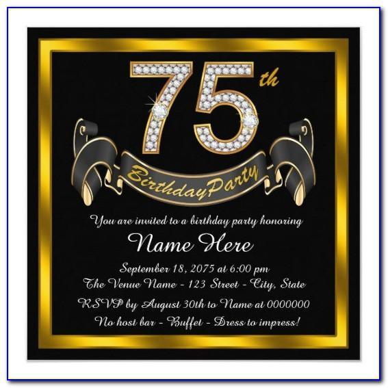 75th Birthday Invitation Card Template