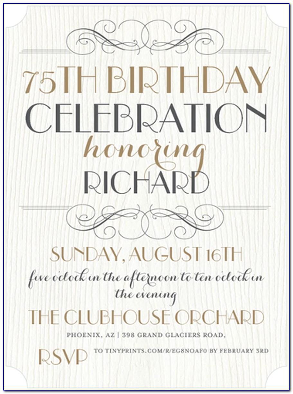75th Birthday Party Invitation Templates