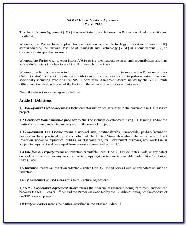 8a Joint Venture Agreement Template