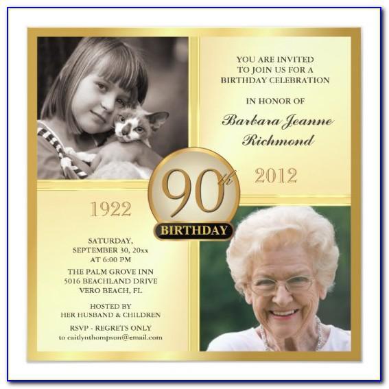 90th Birthday Invitation Samples