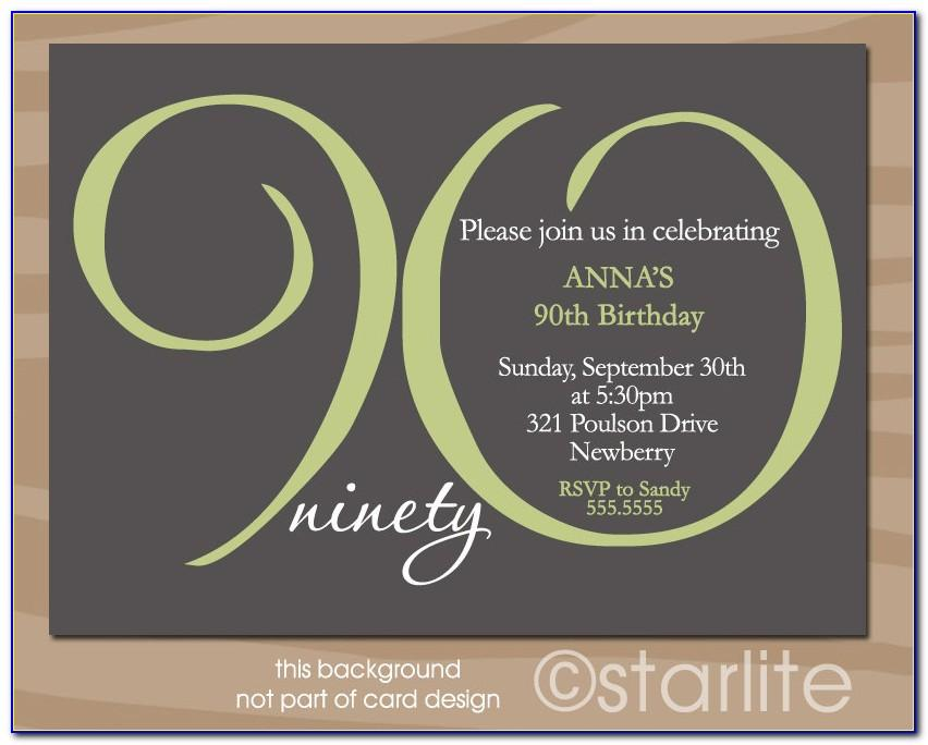 90th Birthday Invitation Wording Samples