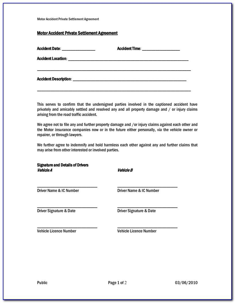 Accident Settlement Agreement Template