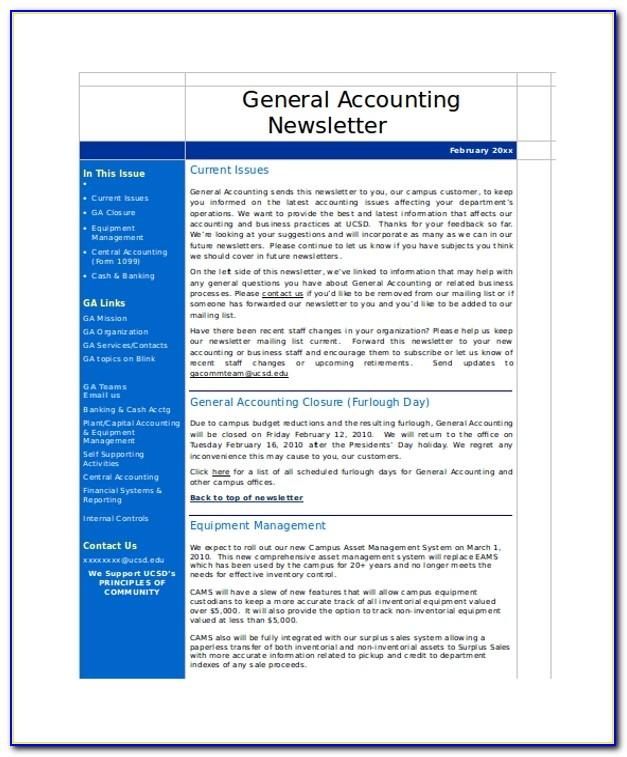 Accounting Newsletter Templates