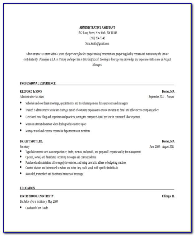 Administrative Assistant Resume Template Microsoft Word Free