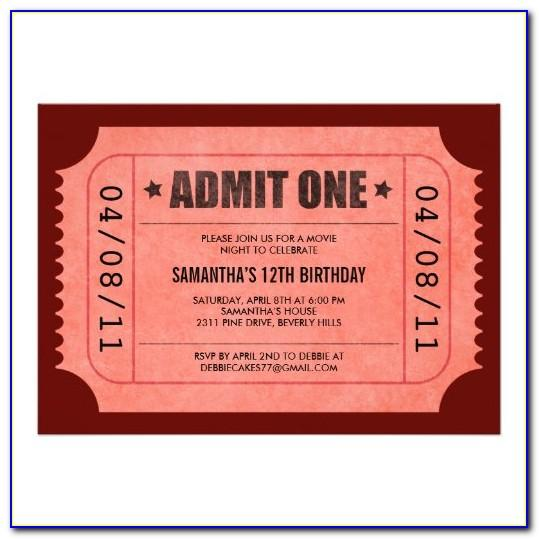Admit One Invitation Template Free