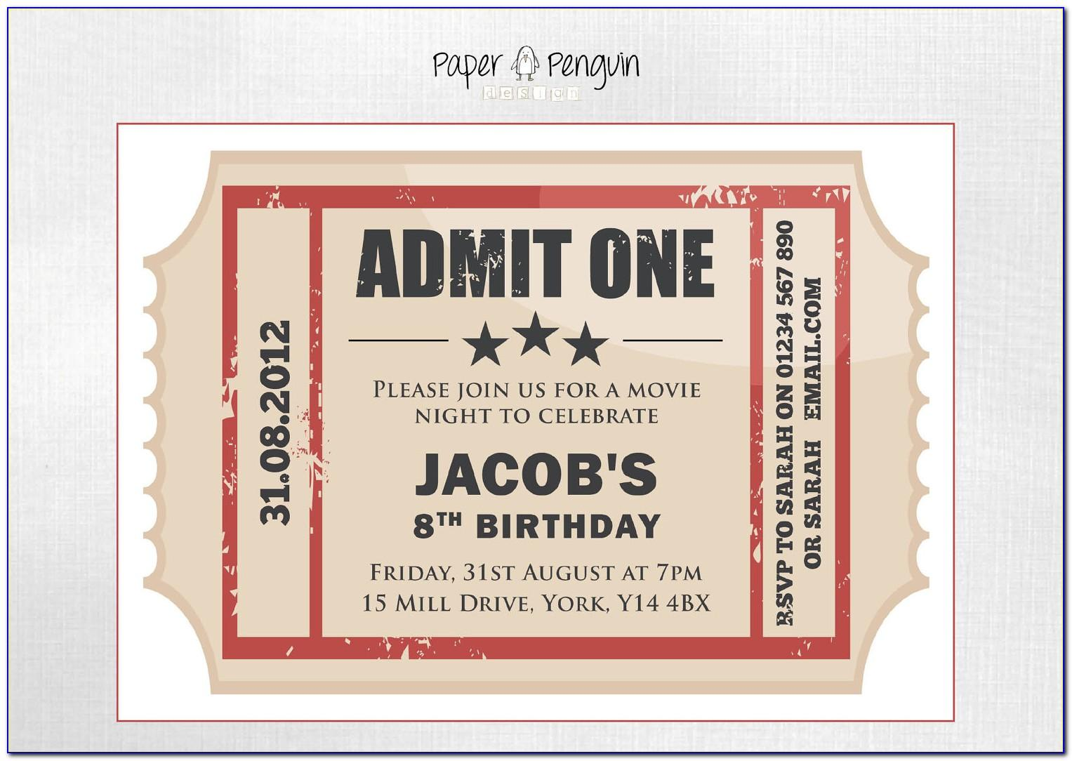 Admit One Party Invitation Template