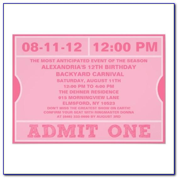 Admit One Ticket Invitation Template Free